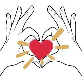 Hände mit Herzsymbol in der Mitte für Aley Loyd
