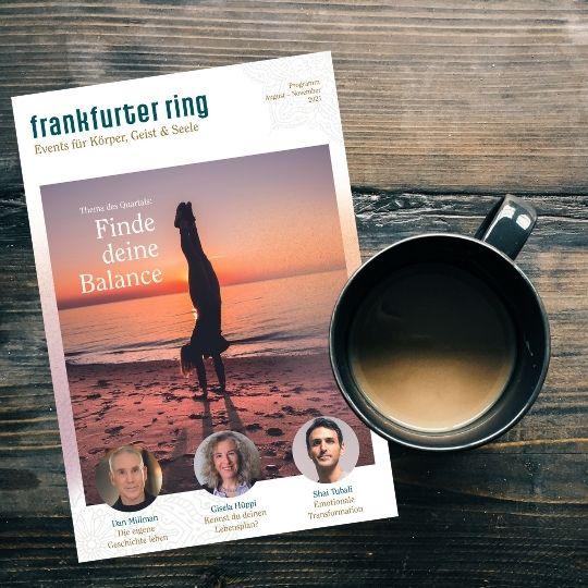 Frankfurter Ring Magazin 21-3 Coverbild mit Kaffe auf einem Holzhintergrund